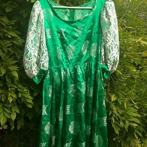 Vintage 80s Green Silk Dragon Print Prom Dress